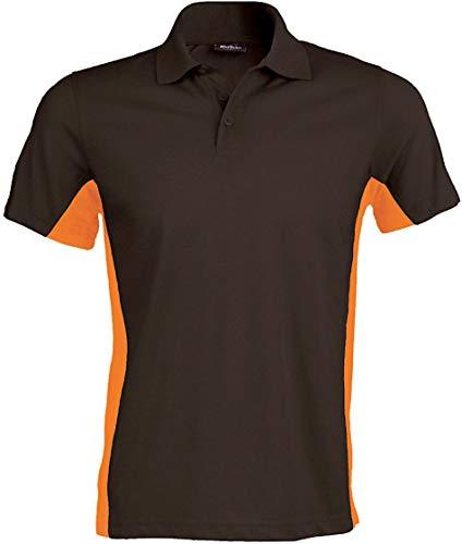 Kariban Flag > Polo Bicolore Manches Courtes - Dark Grey/Orange, L, Unisexe