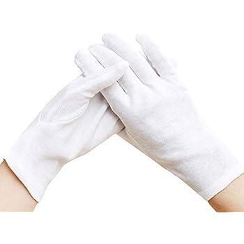 12 Pares (24 Guantes) Guantes de algodón Blanco, Guantes Gruesos y Reutilizables de Trabajos Suaves 8.6 Pulgadas para la inspección de Plata de la joyería de la Moneda - Medio: Amazon.es: Bricolaje y herramientas