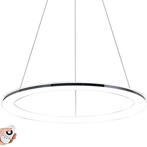 Moderne LED Ring-Pendelleuchte Dimmbar Design Edelstahl Pendellampe mit Fernbedienung Hängeleuchte Decken Lampe Höhenverstehbar für Wohnzimmer Schlafzimmer Esszimmer Büro,Chrom φ60CM 41W