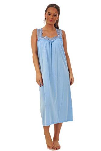Apparel Ladies Plain Nightdress 100 Cotton V Neck lace Strap Long Nightwear M to 3XL Blue