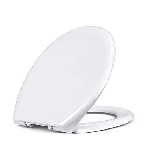 Amzdeal Abattant WC - Lunette de Toilette en PP avec Frein de Chute Réduction du Bruit Fermeture en Douceur dans la Salle de Bain et Toilettes, Forme O