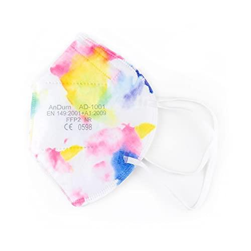 Null Karat 5 FFP2 Masken Muster Motiv bunt Farbe Tie Dye
