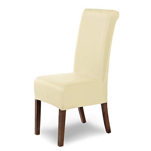 SCHEFFLER-Home Marie 6 Fundas de sillas, Estirable Cubiertas hidrófugo, extraíble Funda con Banda elástica, Marfil