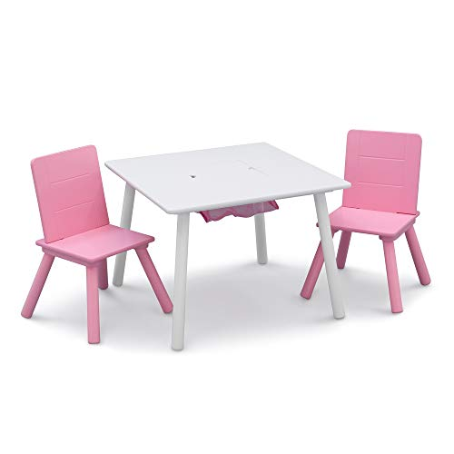 Delta Children Kids Table and Chair Set with Storage (2 Chairs Included) - Ideal for Arts & Crafts, Snack Time, Homeschooling, Homework & More, White/Pink