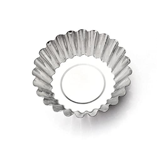 12 Piezas Molde de Tartaleta de Huevo Aluminio,Moldes Mini Tartaletas,Latas de Aluminio Plateado Reutilizables