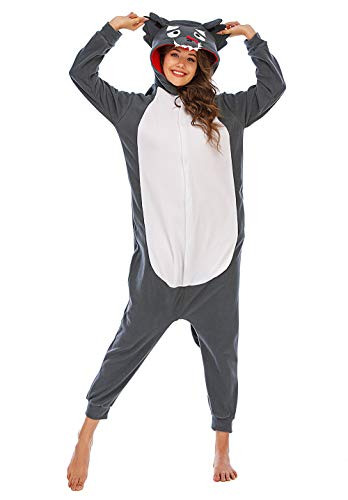 Pijamas Animales Mujer Disfraces de Cosplay para Adultos Pijama Lobo Enteros-G, M