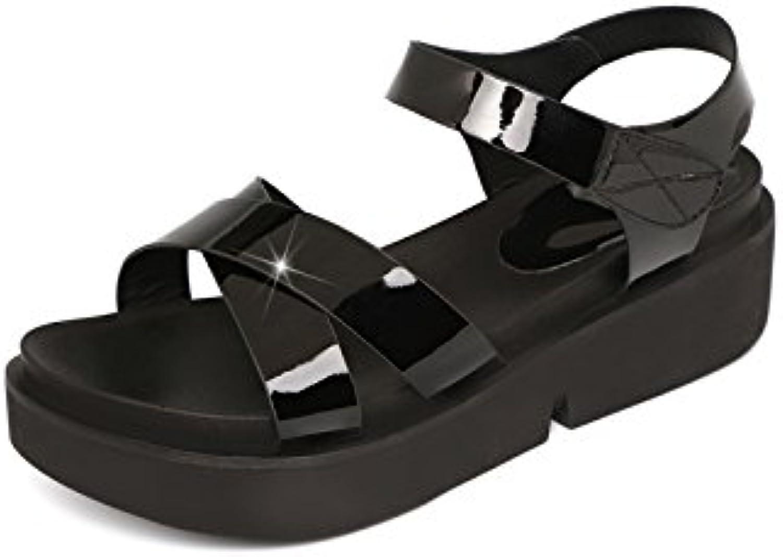 Aa-nvliangxie Frauen Sandalen Sommer neu Damen Schuhe Dicke Talsohle Mitte Heel Toe alleinige Sandalen Wasser bohren Rom Schuhe Eu 34 Cn 35 Gun Farbe