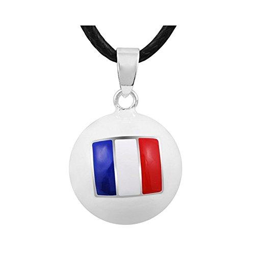 BOBIJOO JEWELRY - Halskette Bola Schwangerschaft Französischen Flagge, Email, Weiß, Blau-Weiß-Rot + Kabel