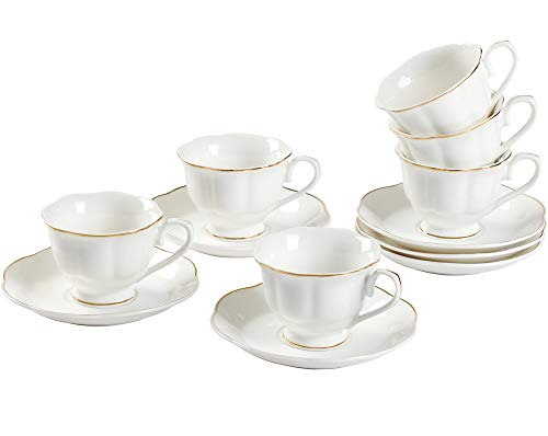 GuangYang 12 PCS White Tea Set-Fine Porcelain Tea Cup and Saucer set of 6 with Gold Line Handle for Tea Party…