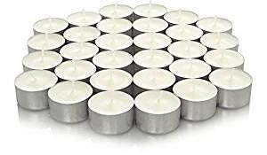 We Can Source It Ltd - 2 x 100 White Tea Light Candles Unscented Non-toxic - 8 Hours Burn Tealights - Perfect for Christmas, Valentines Day, Birthday Celebration