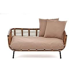 Animal-design Lit-panier pour chien et chat En forme de canapé moderne en rotin avec coussin