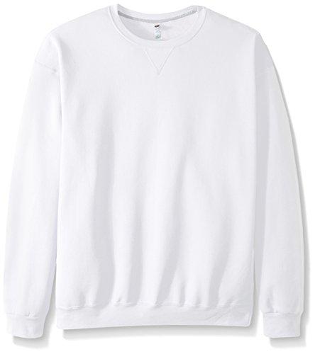 Fruit of the Loom Men's Fleece Crew Sweatshirt, White, Medium