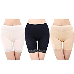 "Package included: 3* women's modal shorts. Black, white, skin colors. Please reference Sizing Chart in the picture carefully Material: 95% modal, 5% spandex, high elastic and soft, breathable and ultra-thin Size M: waist 55cm-80cm/21.6""-31.5"", fit fo..."