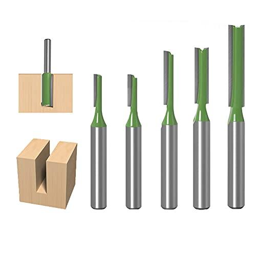 THF 6mm Schaft Gerade Fräser Set, Einzel- / Doppelflöte Nutfräser Holzfräser Fräser 5 Stück Holz Fräser Router Bit - 3mm,4mm,4mm,5mm,6mm