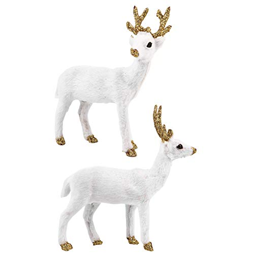 TOYANDONA 2pcs Deer Figurines Toy Plush Christmas Reindeer Collectible Figurines Mini Forest Animals Figures Elk Craft Sculpture for Home Office Table Decorations