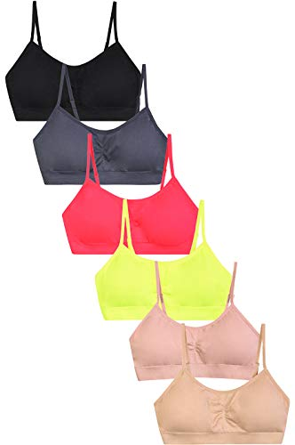 Women's Criss Cross Open Back Sports Bra with Removable Pads and Adjustable Straps (6 Pack) (One Size)