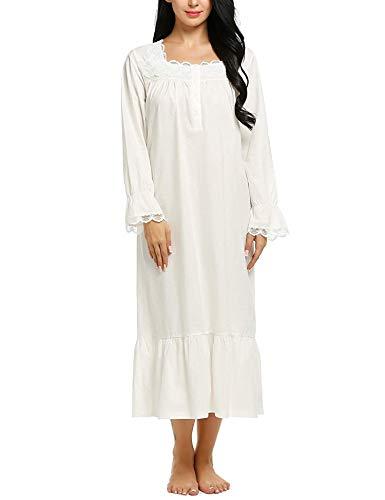 ADOME Damen Nachthemd 100% Baumwolle Nachtkleid Langarm Schlafkleid Einteiliger Schlafanzug Vintage Nightdress Sleepwear Pyjama Schwangere & Mutter Nachtwäsche