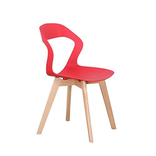 KunstDesign - Set di 4 sedie da pranzo con schienale cavo, in plastica, adatte per cucina, soggiorno, giardino, sedia per computer, caffetterie, colore: rosso