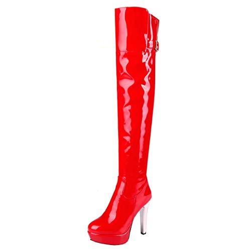 LUXMAX Damen Lack Overknee Stiefel High Heels Plateau Boots mit 12cm Absatz und Reißverschluss Winter Schuhe(Rot,45)
