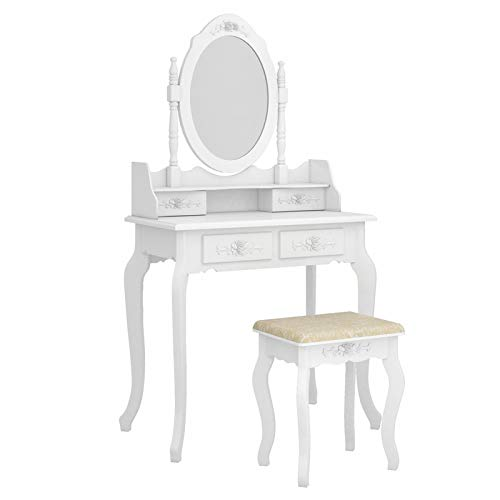 LJYLF Modern Dressing Table with Framed Mirror, Modern Concise 4-Drawer 360-Degree Rotation Removable Mirror Dresser, for Bedroom