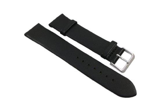 18mm Weiches Kalbsleder Uhrenarmband Schwarz Silberfarbende Dornschließe inkl. Myledershop Montageanleitung
