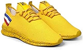 KT Traders Solid Reguler Mesh Lace-Up On Style for Easy Sport Shoes (KT Traders-48-Yellow-9)