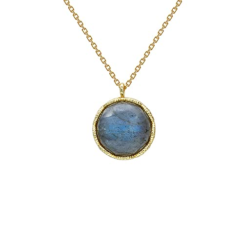 Vintage Labradorite Double-sided Hollow Pattern 925 Silver Necklace Fashion Exquisite Jewelry
