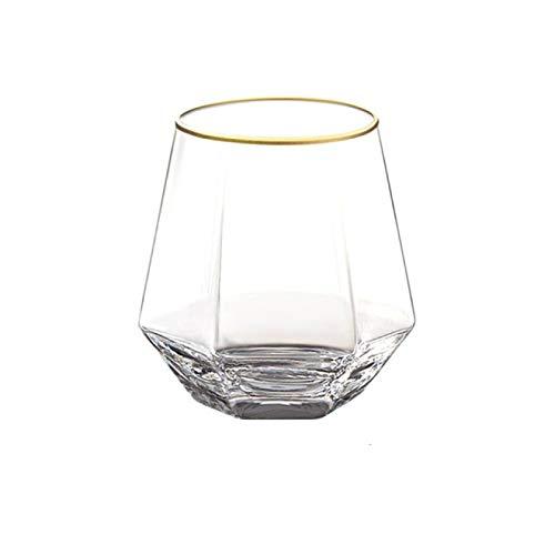 DZHTWSRYGR Vasos de Vidrio Copa de Cristal de Diamante geométrico Copa de Cristal de Oro Botella de Copa Transparente Barra casera Taza de Bebida Copa de Cristal