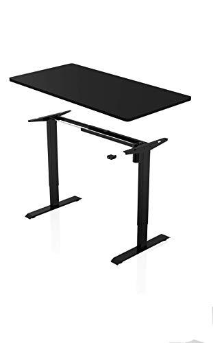 Könighaus Ergonomischer Schreibtisch - Elektrisch Höhenverstellbar (Schwarzes Gestell mit Schwarzer Tischplatte)