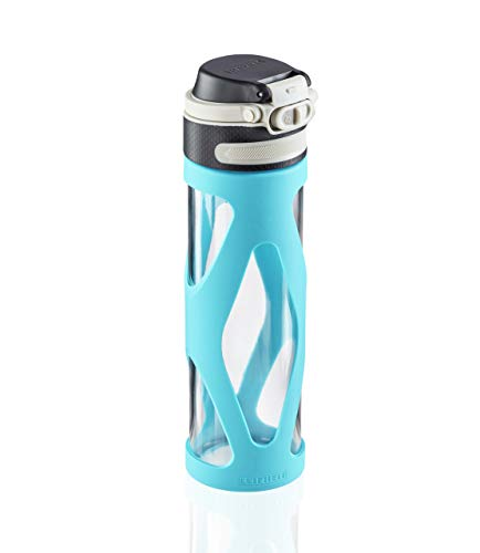 Leifheit Botella de cristal Flip de 600 ml, botella reutilizable y hermética, se abre con una mano, botella deportiva sin BPA, con filtro, azul claro