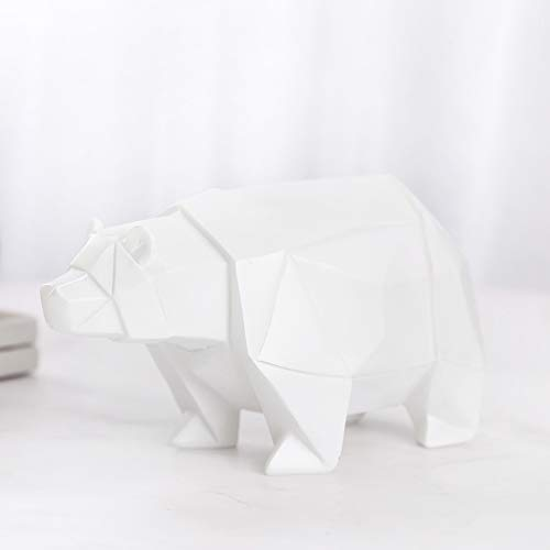 Yangyang Luz de Noche de Estatua de Oso Polar, LáMpara de Cabecera de Oso Polar Sala de Estar DecoracióN de Dormitorio ArtesaníAs de Resina NiñOs 18.5 * 8 * 9.5 cm,Blanco