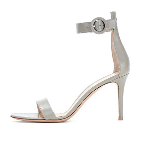 EDEFS Damen Offnen Zehe Knöchelriemen Schuhe Sommer Übergröße High Heels Sandalen Grau Größe EU39