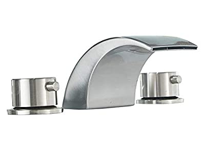 Aquafaucet 8-16 Inch Led Waterfall Widespread Bathroom Sink Faucet Brushed Nickel 2 Handles 3 Holes Commercial