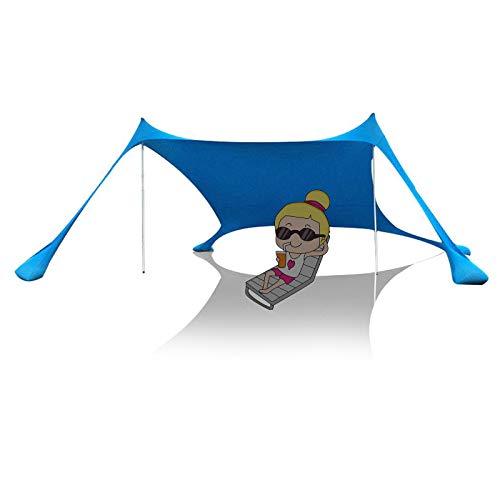 Carpa de playa para el sol, refugio con 4 anclas para bolsas de arena, clavijas para el suelo y postes de estabilidad, sombra al aire libre para viajes de campamento, pesca, diversión en el patio tr