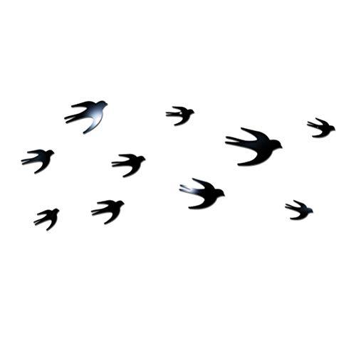 VOSAREA Espejo DIY Etiqueta de la Pared decoración de la Pared Golondrina acrílico Cristal 3D Etiqueta de la Pared Espejo (Negro)