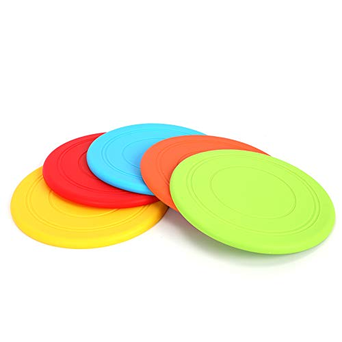 mihealpet Soft Frisbee Indestructible Disc Pet Training Toys for Big Small Dogs Outdoor Sport 5 Pack Lightweight Floating Flying Saucer for Chihuahua Bulldog