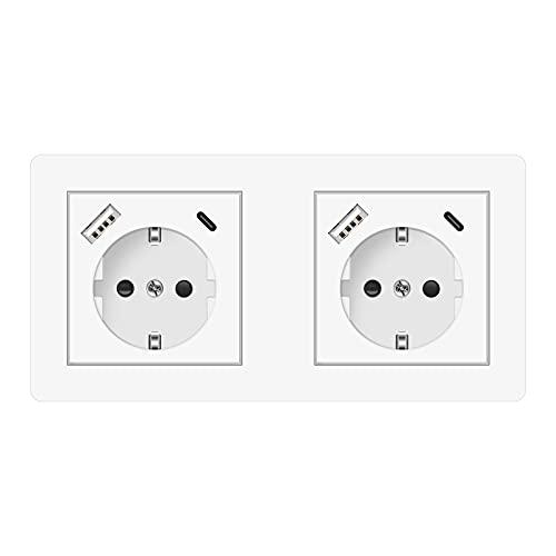 Altopbum USB Enchufe Pared, 6 en 1 Schuko Enchufe Doble con USB y 2 Tipo C Tomas de Corriente para el Smartphone Tableta Cocina Dormitorio Oficina Hotel, etc