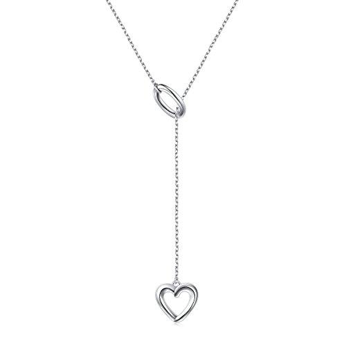 Damen Lange Kette Flyow 925 Sterling Silber Verstellbar Y Kette mit Herz und Kreis Anhänger Halskette