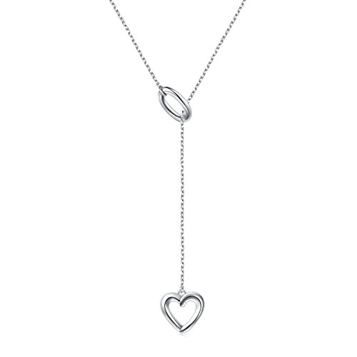 Flyow 925 Sterling Silver Adjustable Y Shaped Long Lariat Necklace Jewelry with Ring and Heart Pendant for Women and Girls