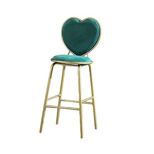 QWEA Taburetes de Bar, Taburete Alto de Bar Moderno con Respaldo cómodo en Forma de corazón, cojín de Espuma Engrosada y reposapiés de conveniencia, Altura del Asiento de 65 cm (Color: Verde)