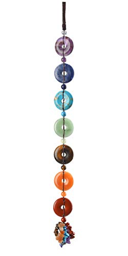 CrystalTears 7 Chakra Healing Crystal Hanging Ornament Natural Tumbled Gemstone Feng Shui Crystal Ornament Chakra Healing Stone Donut Shape Lucky Amulet for Protection Meditation Home Decor