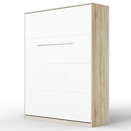 SMARTBett Standard 160x200 Vertikal Eiche Sonoma/Weiss Schrankbett | ausklappbares Wandbett, ideal geeignet als Wandklappbett fürs Gästezimmer, Büro, Wohnzimmer, Schlafzimmer