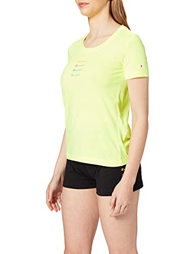 Champion Seasonal Graphic Gallery Crewneck T-Shirt, Fluorescent Yellow, L Donna