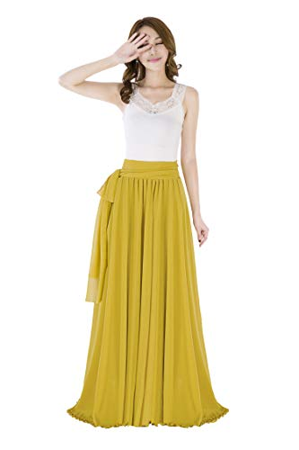 Sinreefsy Summer Chiffon High Waist Pleated Big Hem Floor/Ankle Length Beach Maxi Skirt for Women Wedding Party Long Skirts(Medium/Mustard Yellow)