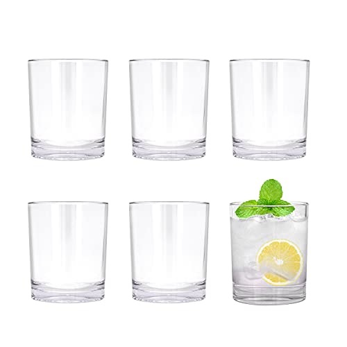REALWAY Set of 6 Classic Shatterproof Plastic Tumblers, Drinkers Relaxing Time Indoor Outdoor Pub Party,Unbreakable Reusable Drink Ware dish wash safe, for whisky wine water juice