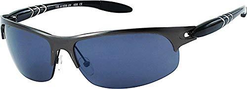 CHICNET Hochwertige Sonnenbrille Herren Sportbrille Fahrradbrille getönt 400UV Halbkreise Metallrahmen grau