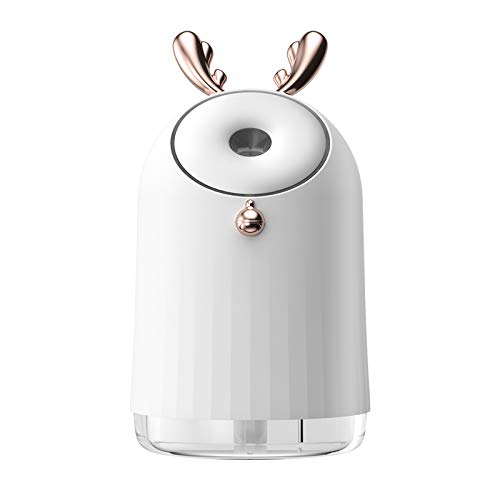 SZHTFX Mini Humidificador Silencioso 250ml humidificadores Aire con alimentación USB,Apagado automático para el el hogar,Dormitorio, la Oficina, el Yoga, Aceite Esencial Prohibido (Blanco)
