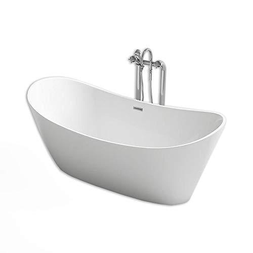 Home Deluxe - freistehende Badewanne - Design Badewanne freistehend Ovalo weiß - Maße: ca. 170 x 80 x 72 cm - Füllmengen: 204 Liter - inkl. komplettem Zubehör