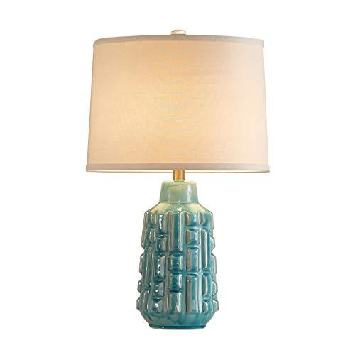 Lámpara de Mesa Exquisita lámpara de mesa de cerámica tradicional, lámpara de cabecera de dormitorio familiar sala de estar de base ovalada verde Lámpara de Cabecera (Color : B)