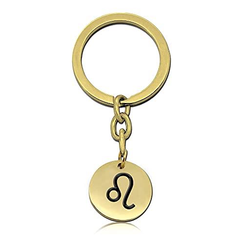tumundo 1 Portachiavi Ciondolo Chiave Segni dello Zodiaco Acciaio Colore Argento Oro, Variante:Leone - Oro